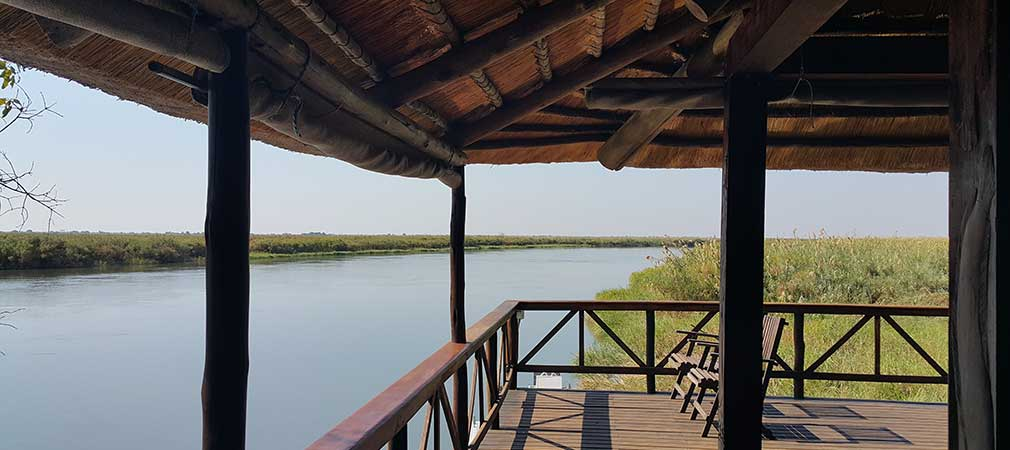 Drotsky's Cabins lounge overlooking the Okavango River